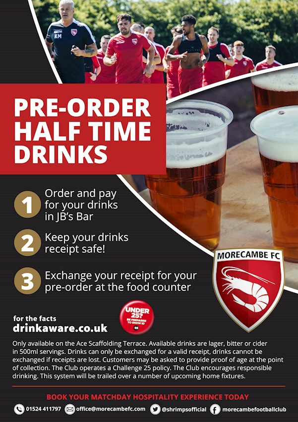 SHRIMPS TO TRIAL NEW HALF TIME PRE-ORDERING SYSTEM - News